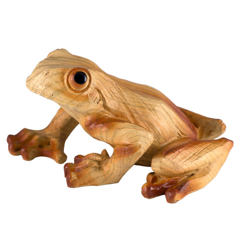 Frog Faux Carved Wood Look Figurine 1