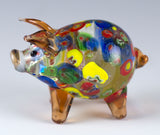 Orange Millifiori Pig Miniature Hand Blown Glass Figurine 3
