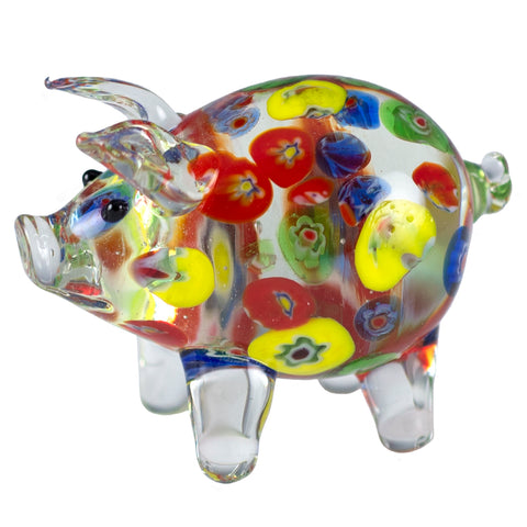 Clear Millifiori Pig Miniature Hand Blown Glass Figurine