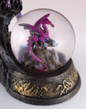 Dragon On Rock Figurine Purple With Snow Globe