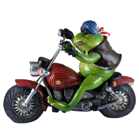 Biker Frog On Motorcycle Figurine 1
