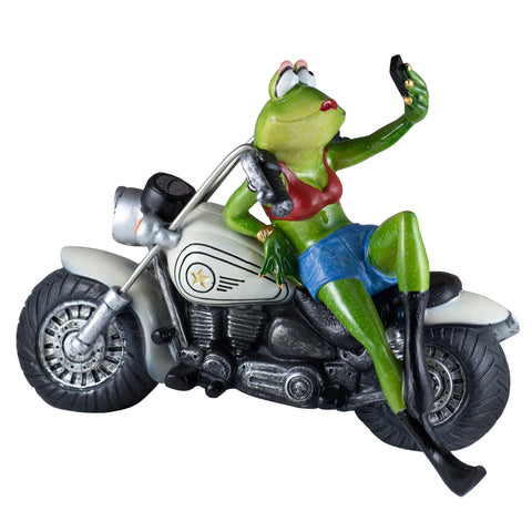 Biker Babe Frog On Motorcycle Taking Selfie Figurine 1