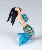 Miniature Hand Blown Glass Mermaid Figurine Black Hair 4