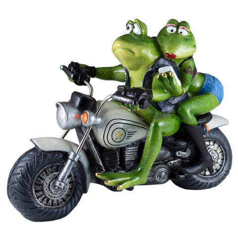 Biker Frog Couple Taking Selfie Riding Motorcycle Figurine  1