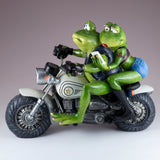 Biker Frog Couple Taking Selfie Riding Motorcycle Figurine 2