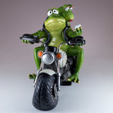 Biker Frog Couple Taking Selfie Riding Motorcycle Figurine 3