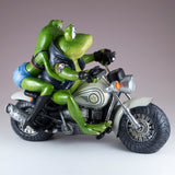 Biker Frog Couple Taking Selfie Riding Motorcycle Figurine 4