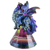 Dragon Figurine Blue and Purple On Glass Pyramid