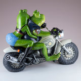 Biker Frog Couple Taking Selfie Riding Motorcycle Figurine 5