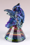 Dragon Figurine Blue and Purple On Glass Pyramid 3