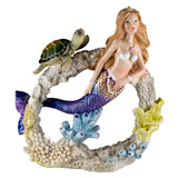 Mermaid Swimming Through Coral With Sea Turtle Figurine 1