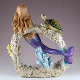 Mermaid Swimming Through Coral With Sea Turtle Figurine 4