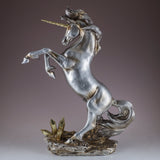 Silver and Gold Rearing Unicorn Figurine 2
