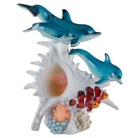 Dolphins and Clown Fish With LED Seashell Figurine 1