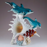 Dolphins and Clown Fish With LED Seashell Figurine 2