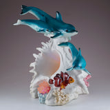 Dolphins and Clown Fish With LED Seashell Figurine 3