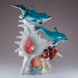 Dolphins and Clown Fish With LED Seashell Figurine 6