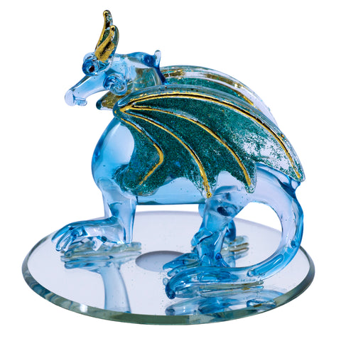 Hand Blown Glass Blue Sparkly Dragon Figurine On Beveled Mirror 1