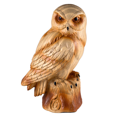 Owl Faux Carved Wood Figurine 1