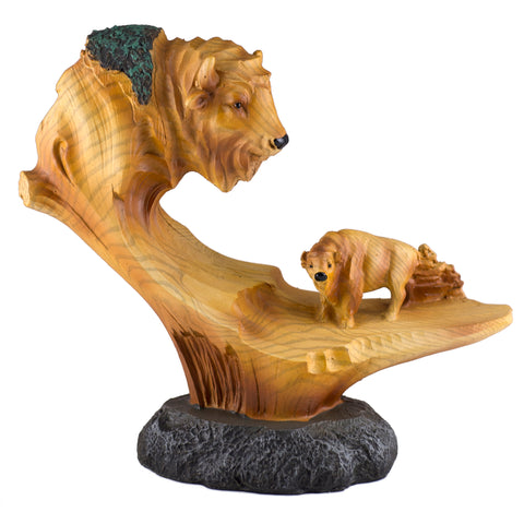Buffalo Bison Faux Carved Wood Look Figurine