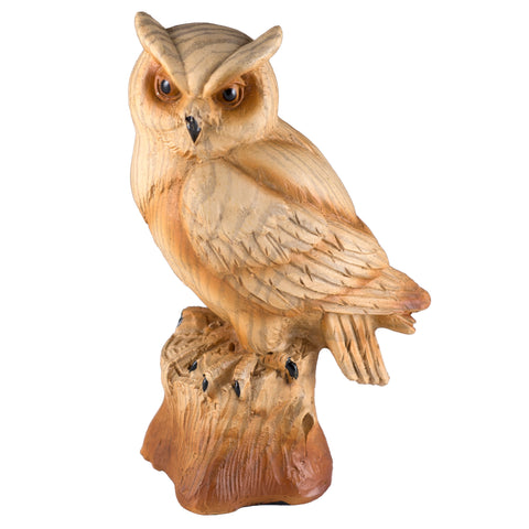 Horned Owl Faux Carved Wood Look Figurine 1