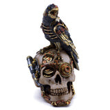 Steampunk Raven Crow On Skull Figurine 2
