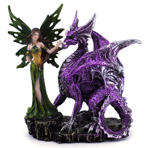 Green Fairy With Purple Dragon Figurine 1