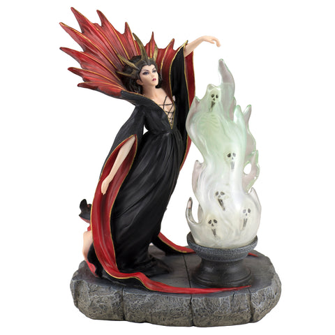 Witch With Cauldron of Spirits Skulls Figurine 1