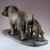 Elephant Family Mother and Youngsters Figurine 3