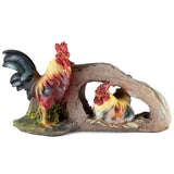 Rooster and Hen In Rock Nest Chicken Figurine