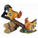 Rooster and Hen On Shovel Chicken Figurine 1