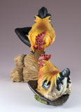 Rooster and hen on shovel chicken figurine 3
