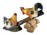 Rooster and hen on shovel chicken figurine 2