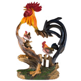 Rooster and Hen In Rooster Frame Chicken Figurine