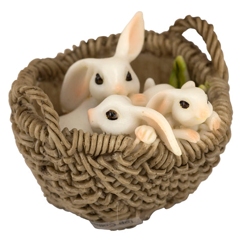 "Miniature 3 White Bunny Rabbits In Carrot Basket Figurine 2.25""L"