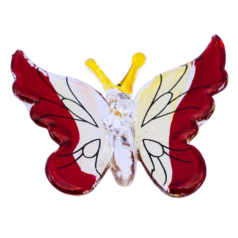 Hand Blown Glass Red Butterfly Ornament Figurine