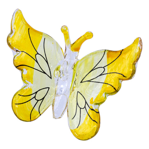 Hand Blown Glass Yellow Butterfly Ornament Figurine