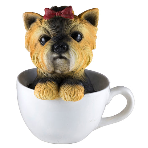 Yorkie Yorkshire Terrier In A Tea Cup Dog Figurine 1