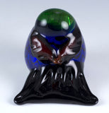 Tweet Bird Green and Silver Glass Figurine