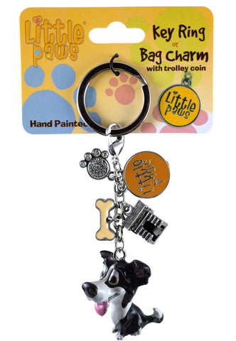 Little Paws Border Collie Dog Key Ring 2
