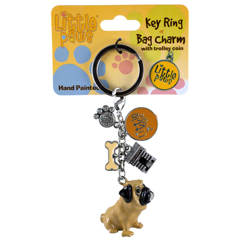 Little Paws Tan Pug Dog Key Ring Key Chain 1