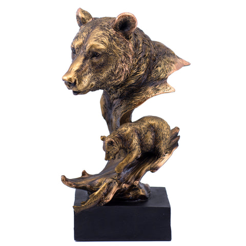 Bronze Tone Bear With Fish Figurine 1