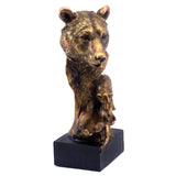 Bronze Tone Bear With Fish Figurine 2