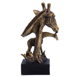 Bronze/Gold Giraffe Head Bust With Calf Figurine 4