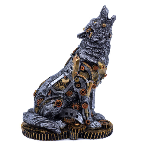 Silver Tone Steampunk Wolf Howling Figurine Statue 1