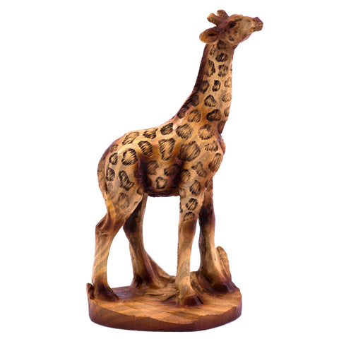 Mini Giraffe Reaching Up Faux Carved Wood Look Figurine 1