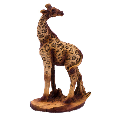 """Giraffe Bust Mother /& Calf Faux Carved Wood Look Figurine Statue 9/"""" High New!"""