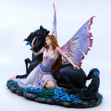 Pink Fairy With Black Unicorn Figurine 4