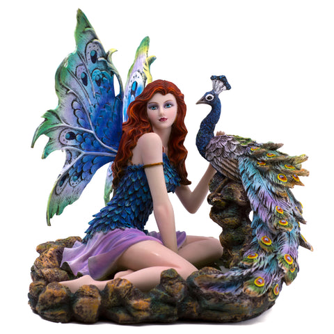 Blue Peacock Fairy In Water Pool Figurine 1