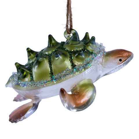 Hand Blown Glass Thorn Shell Sea Turtle Figurine Ornament